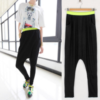 2013 fashion vintage personality color block elastic waist harem pants harem pants hanging crotch pants trousers female p926