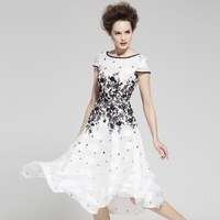 Women's 2013 Summer Fashion Floral Print Flower Elegant XXL Dress Pullover Slim Chiffon Mid-Calf Short Sleeve One-Piece Dress