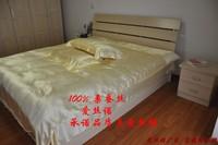 free shipping 100% real Silk piece set beige silk bedding pillow case bed sheets pure silk piece set 4pcs bedding set