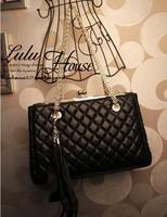 BG1283 New Retro Frog Mouth Metal Clip Chain Lingge Tassel Handbags Women Shoulder Bag Messenger Bag