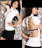 6146 2013 free shipping Sexy Women High Collar Short Sleeve Backless Strap Night Club Knitted T-shirt Tight Top