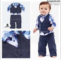 Gentleman style boy clothes/2-piece set: plaid shirt+ blue vest+ blue pants/Autumn latest design