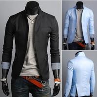 Free Shipping 2013  New Man's Fashion Striped cuffs Slit on both sidesOne button Slim men's blazer 8918