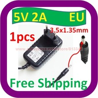 Free Shipping 5V DC 2A 2000mA AC Adapter 3.5mm x 1.35mm EU plug Home Wall Charger Power Supply Cord