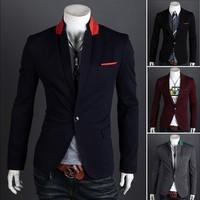 Free Shipping 2013  New Man's Fashion color Dot One button suit slim men's blazer 4colors size M-XXL 9011