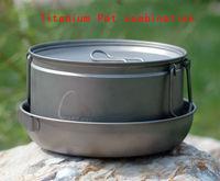 3-4 people titanium cookware 2L titanium large pot outdoors Titanium skillet  compote   tableware