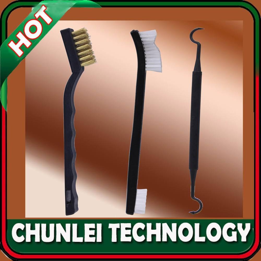 3 in 1 Gun/Rifle Cleaning Tool Set Kit W/ Brass Brush+Double Ended Nylon Brush+Double Ended Pick(Hong Kong)