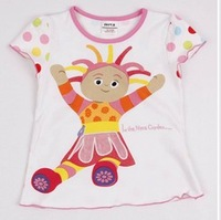 FREE SHIPPING K879#kids wear in the night garden girl short sleeve summer t shirts with novelty embroidery