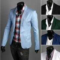 Free Shipping 2013  New Man's Fashion Fresh One button suit slim men's blazer 5colors size M-XXL 9013