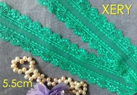 Free shipping 5.5cm High Quality Fashion Elastic Green Lace trimmings,Dress Accessories,Soft and Tender Touch Feeling,XERY13765g
