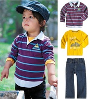 SY-407,5sets/lot 2013 New style baby clothing set boy clothes set (overshirt+t-shirt+jeans) 3 pcs children suit Wholesale