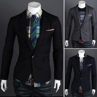 Free Shipping 2013  New Man's Fashion One button suit slim men's blazer 3colors size M-XXL 9012