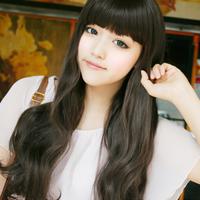 Wig Girls Oblique Bangs Scroll Medium-Long Pear Stubbiness Pear Scroll