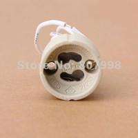 Free Ship,GU10 Socket Ceramic LED Halogen Bulb Lamp Light Holder Base 2A 250V with Wire lead