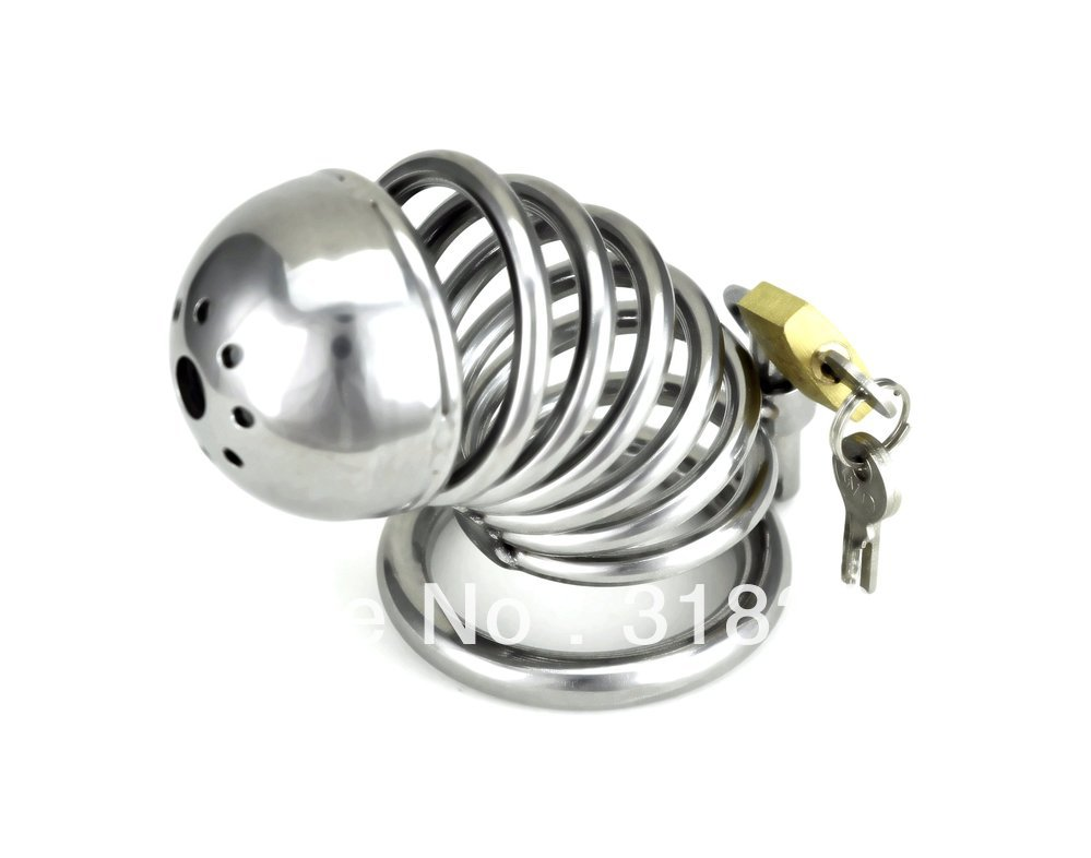 Stainless-​steel-Male​-font-b-Bo​undage-b-f​ont-chasti​ty-longer-​Cage-Gimp-​New-Style-​A085