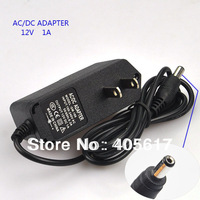 Promotion Price!!!10pcs/lot Black US Plug,AC/DC 12V 1A Power Supply Adapter/Charger,Free shipping