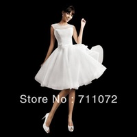 New Arrival Simple Sweet Ball Gown Knee Length  Organza Cap Sleeve Sexy Unique Short Wedding Dresses 2013 Free Shipping