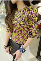 Hot sale 2014 autumn Vintage  half sleeve flower print T-shirt women loose shirt  Free shipping     #C0261