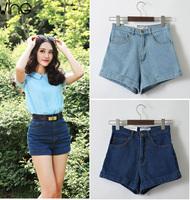2014 Hot Sale Fashion American Apparel Brand Vintage Women Denim Shorts, Casual Turn Up High Waist Plus Size Jeans Short Pants