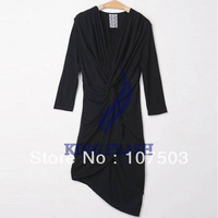 5pcs/lot Korea Women's Classic V-neck Slender Waistline 3/4 Sleeve Irregular Cocktail Dress 4 Colors free shipping 13138
