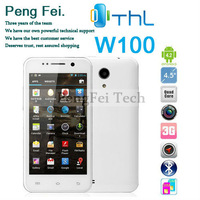"Free Flip leather case THL W100 Quad Core RAM 1GB MTK6589 android 4.21with 13MP Camera 4.5"" screen GPS cell Phone"