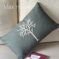 """Free Shipping 20"""" Tree Green Retro Vintage Style Linen Decorative Waist Pillow Case Pillow Cover Cushion Cover"""