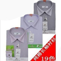 2013 men's shirt male long-sleeve shirt anti-wrinkle easy care 100% stripe cotton shirt business casual