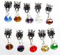 100pcs/lot Fashion Mix Color Crystal Dangle Beads DIY Glass Charm Beads Fit Necklace/Bracelet nb106