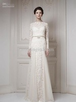 Wholesale - Best Selling Bateau Ivory A-line Long Sleeves Sash Cool Muslim Lace Bridal Gown 2013 Wedding Dresses