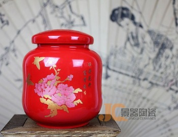 Red porcelain tea caddy festive wedding supplies