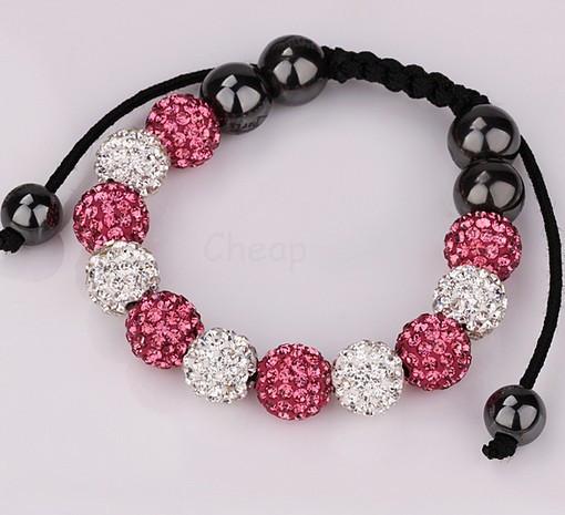 Min.$15 Mixed Order+Free Shipping+Gift.pink white mixed hot 10mm micro pave cz Disco Beads Crystal Women Men Shamballa Bracelet.(China (Mainland))