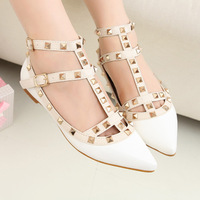 2013 New Fashion Spring and Autumn Rivets Flat Shoes Rome Pointed Shoes White Black Purple Red Pink Free Shipping