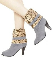 Free shipping martin sexy leopard fashion boots for women ladies shoes woman 2013 high heels pumps party belt buckle CSXX34470