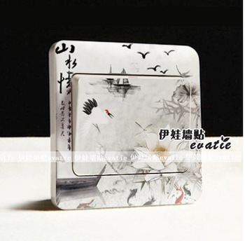 Chinese style wall stickers switch panel button decoration film ink traditional chinese painting landsides crane