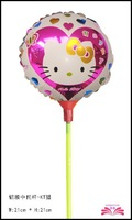 free shipping  8.5inch hello KT  foil balloon ,star foil balloon within stick.  ,size 21x21cm