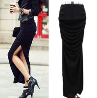 2013 New summer fashion Sexy Lady Long Skirt Stretch Cotton Wrap Bodycon Split High Waist Dress S21