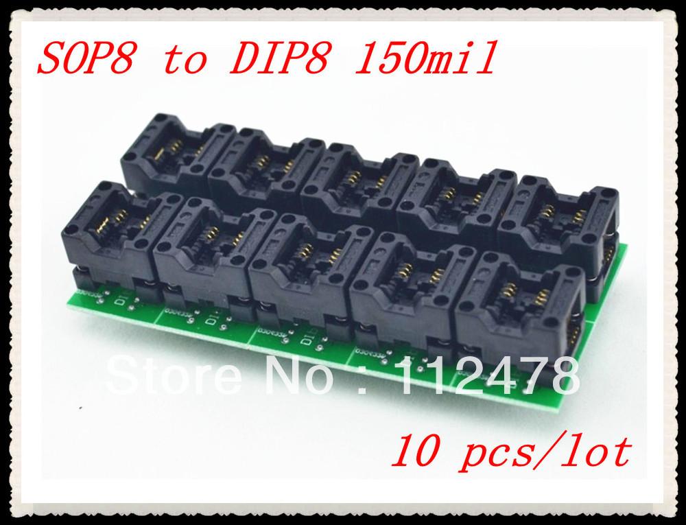 Free shipping!!!Universal Adapter Sockests SOP8 SOP 8 to DIP8 DIP 8 for Programmer TL866A TL866CS EZP2010 150 mil(China (Mainland))