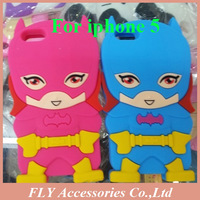 1pcs Free ship! cartoon Batman 3D silicone soft Back cover Case for iPhone 5 5G