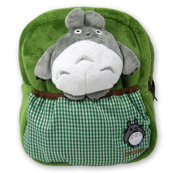 Free Shipping Green totoro pattern plush style backpack child school bag backpack