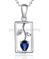 Sapphire necklace pendant Free shipping Perfect Jewelry Natural sapphire pendant,925 silver  pendant,1pc/box# AL-7102