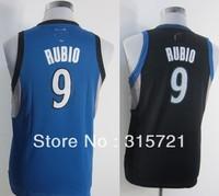 2013 free shipping top quality Minnesota Ricky Rubio #9 kids boys girls customized basketball jersey blue black