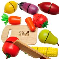 Wooden fruit qieqie  toys kitchen toy set toy