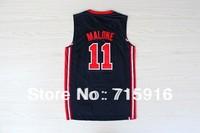 Free Shipping!  #11 Malone 1992 Olympic Dream Team blue jersey basketball jersey