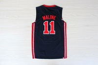 Free Shipping! #11 Malone 1992 USA Olympic Dream Team blue jersey basketball jersey