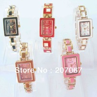 free shipping 5pcs/lots Mixed Fashion Style Square Color Band Steel Case Lady Women Quartz Crystal Watch C31