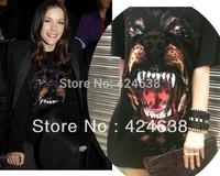 Sexy!  Chic Dog head Rottweil black Print shirt Women Summer T shirt MEN fashion Tops Rhinestone Short Sleeve tshirt GIV CT02