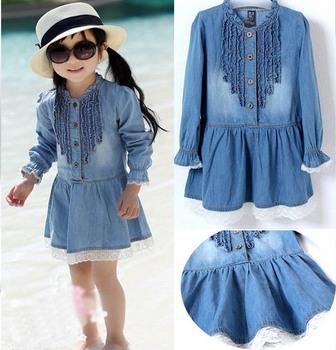Kids Girls  Dress 2-7Y fashion Lovely Denim Blue Beautiful Lace princess dress