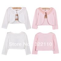 Girl Jacket 2013 Autumn Long sleeve costume Cardigan Waistcoat 100% Cotton Pearl Lace White/Pink MOQ 1pc