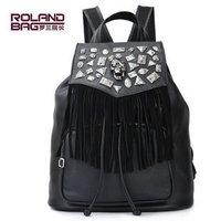 Red pepper - cool punk rock rhinestone skull interspersion tassel backpack
