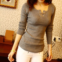 Slim sweater V-neck long-sleeve sweater women's short design basic sweater
